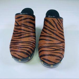 UGG Calf Hair Animal Tiger Brown Black Mules